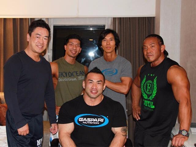 IFBBプロ山岸秀匡選手、NPCJ庄司会長、大山選手、池田選手